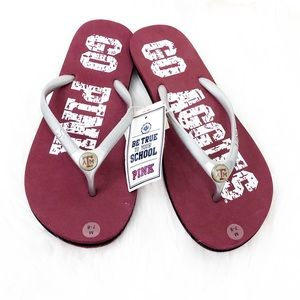 Pink Victoria's Secret Texas A&M Flip Flops